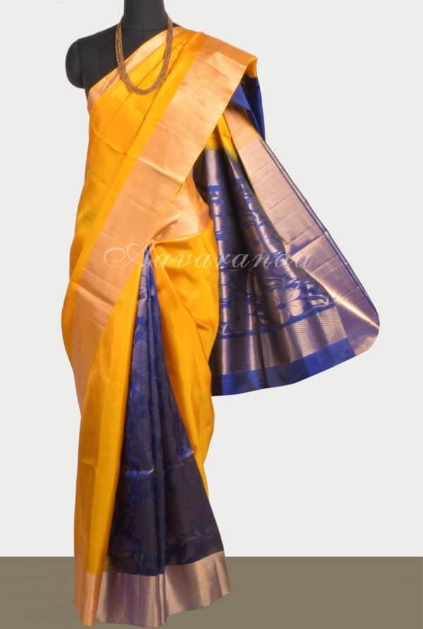 Yellow blue partly pallu silk saree-0