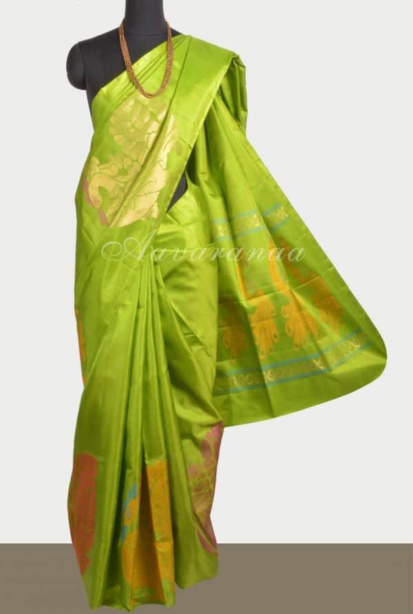 Green thread pecock saree-0