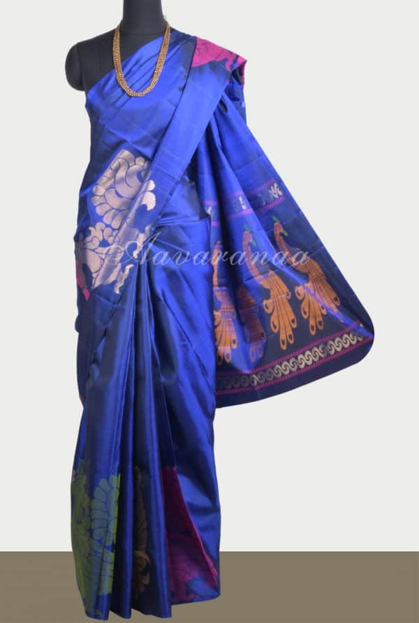 Royal Blue thread pecock saree-0