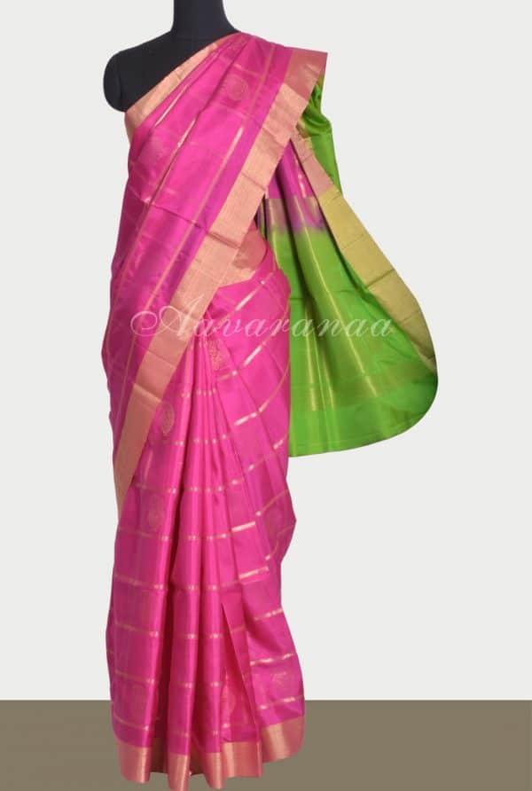 Pink zari checks soft silk saree-0