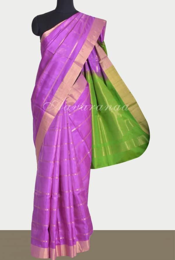 Purple zari checks soft silk saree-0