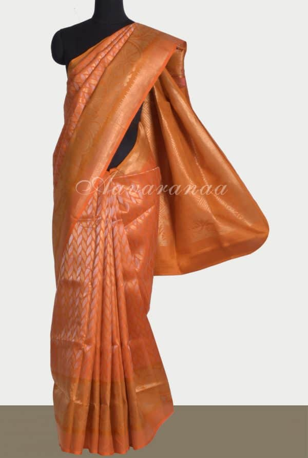 Dark mustard soft silk saree with zari-0