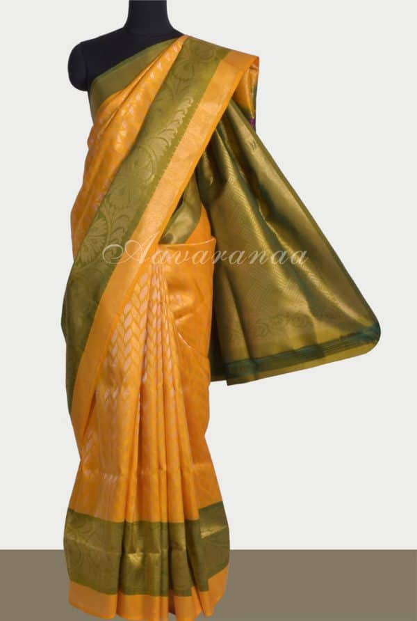 Yellow soft silk saree with zari-0