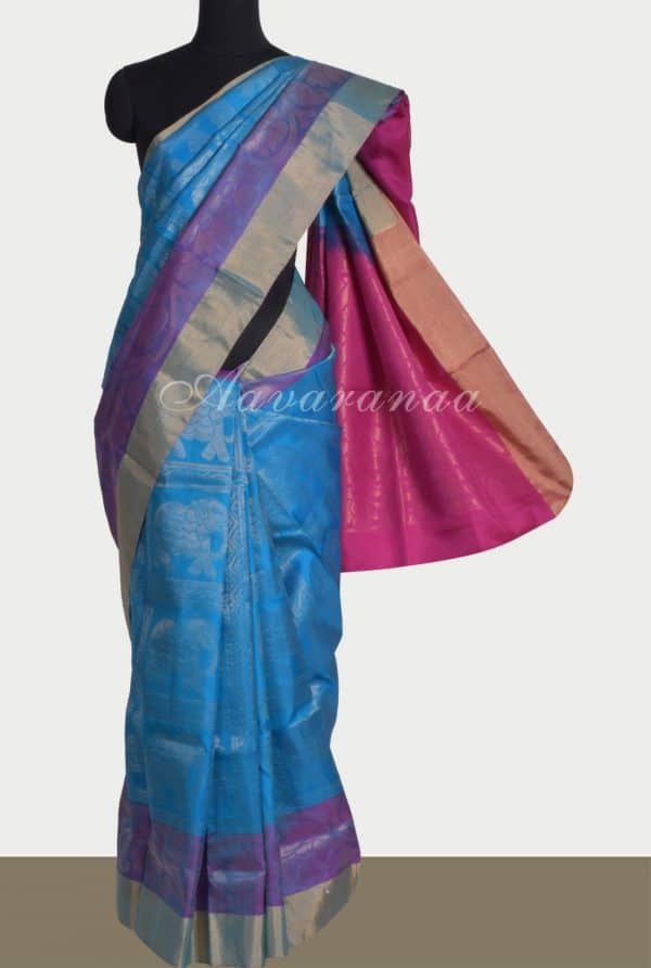 Blue checks elephant weave silk saree-0