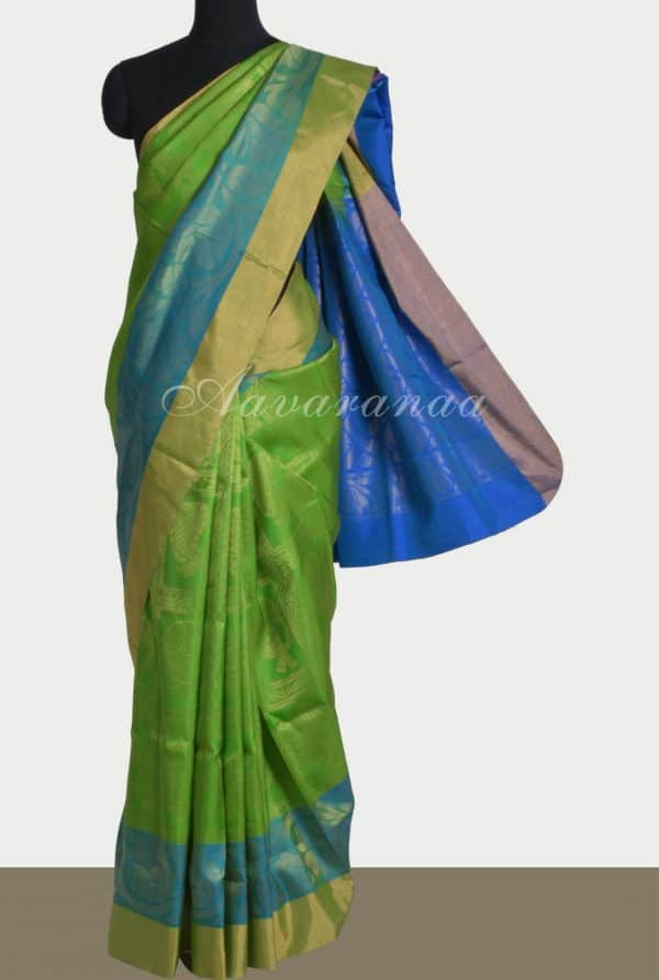 Green checks elephant weave silk saree-0
