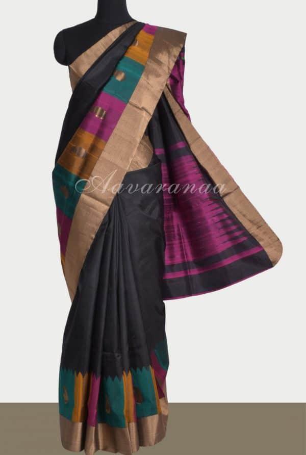 Black silk saree with thread woven border-0