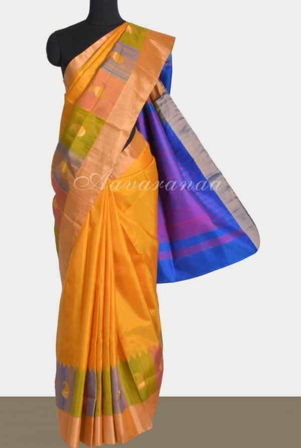 Yellowthread border soft silk saree-0