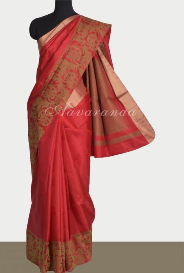 Red silk saree with thread border-0