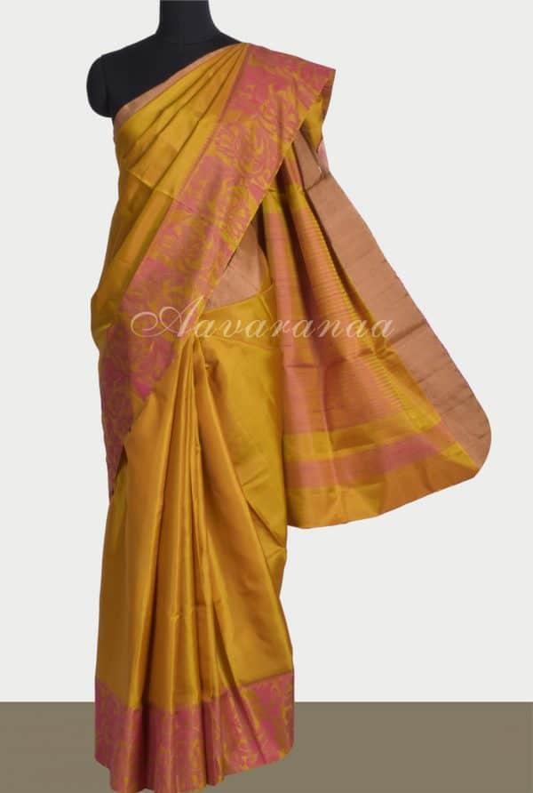 Mustardsilk saree with thread border-0