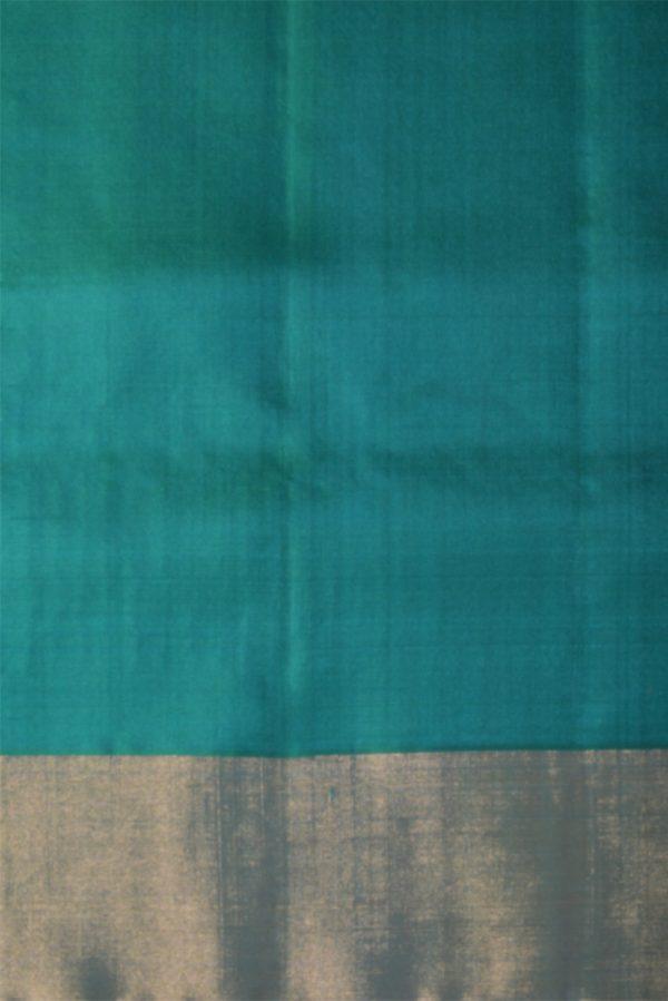 Bluish greensilk saree with thread border-13665