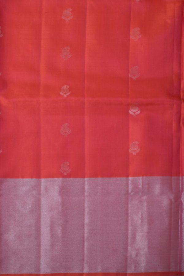 Red soft silk saree with silver zari-13669