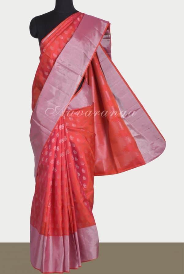 Red soft silk saree with silver zari-0