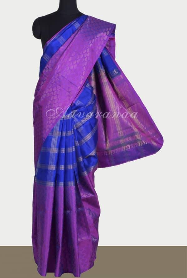 majentaRoyal blue half and half silk saree-0