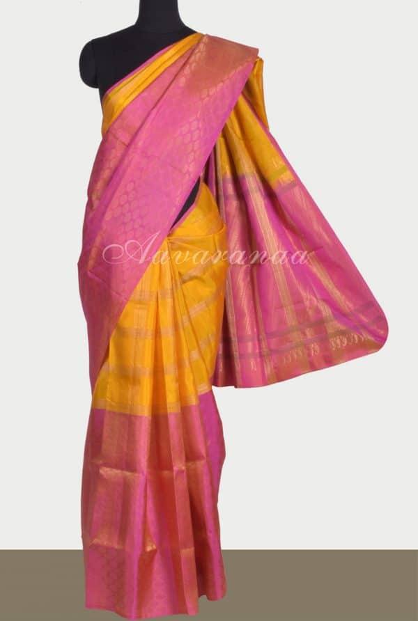 mustard peach half and half silk saree-0