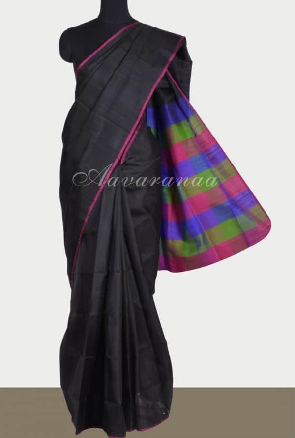 Black silk saree with checks pallu blouse-0