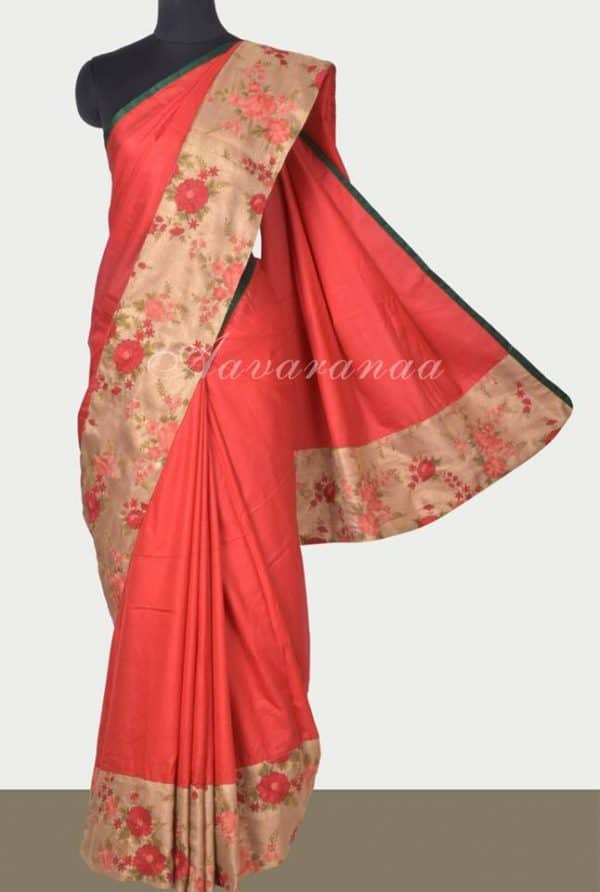 Red and gold embroidered tussar saree-0