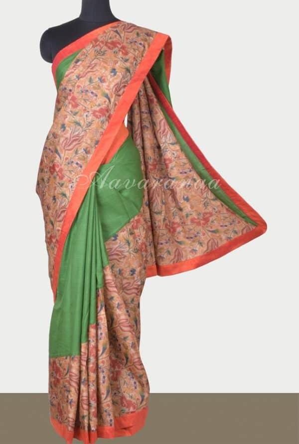Green tussar printed cross to cross saree-0