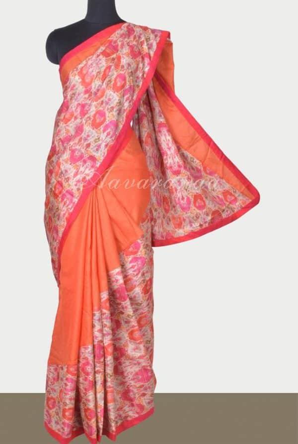 Orange tussar printed cross to cross saree-0
