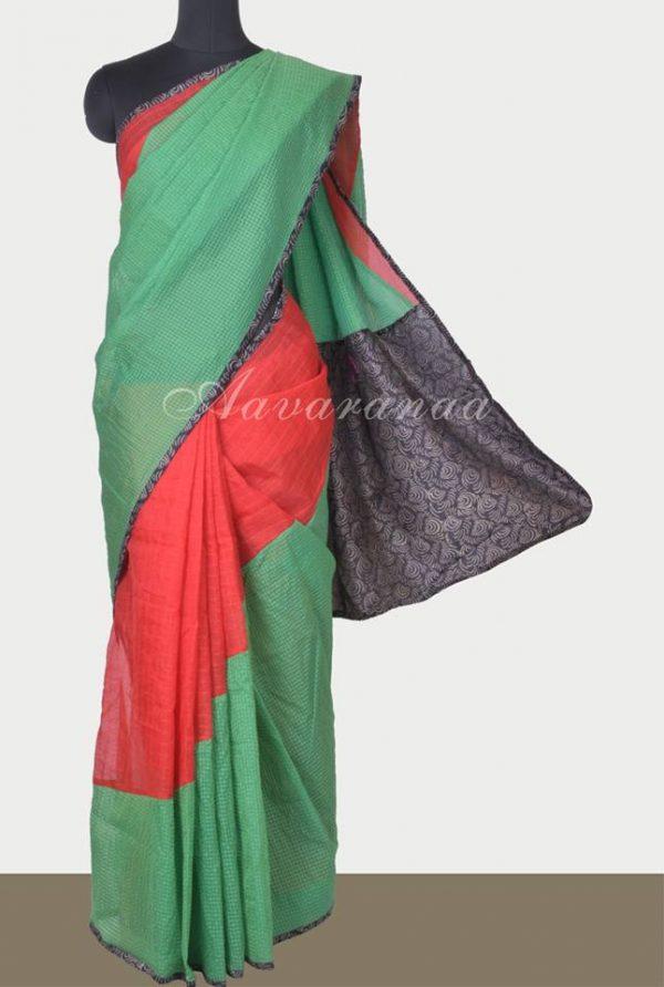 Green and red semi-organza saree-0