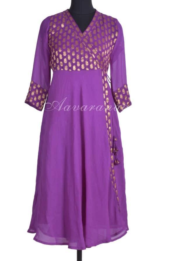 Violet georgette wrap kurta-0