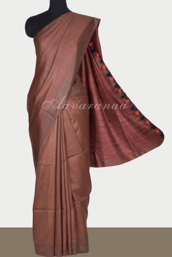 Brown mutka handloom silk saree-0