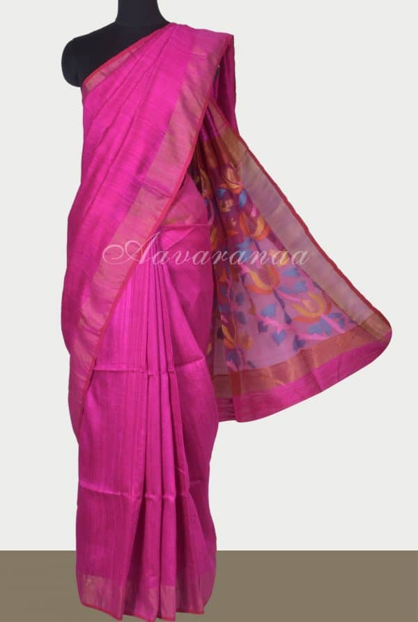 Pink mutka silk saree with pink organza pallu-0