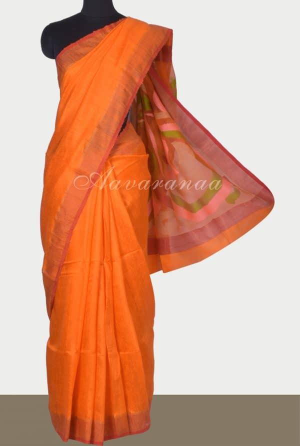 Orangemutka silk saree with organza pallu-0