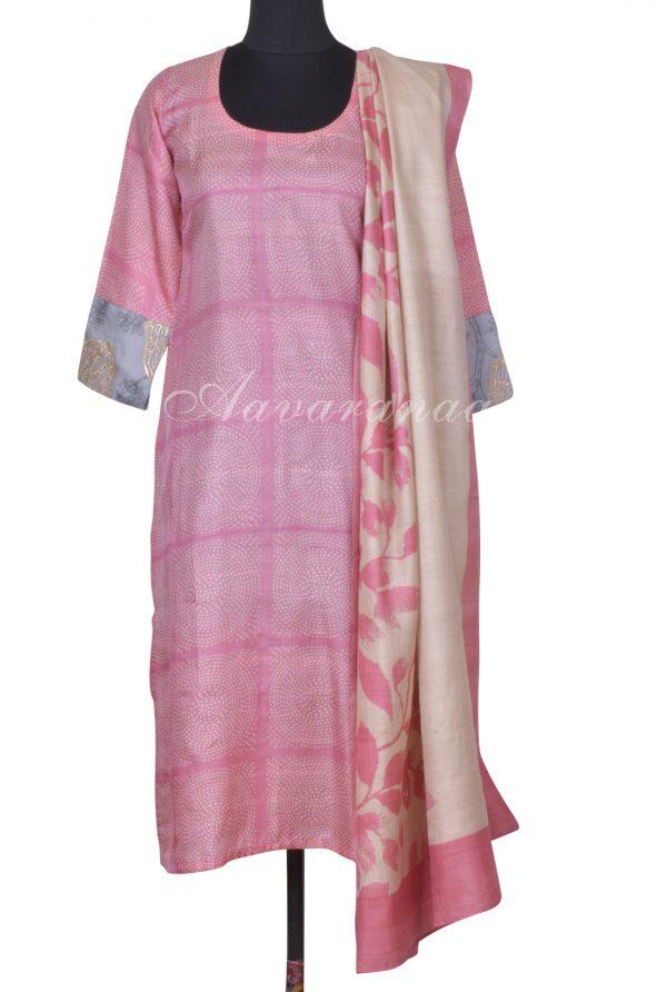 Light pink tussar printed suit-0