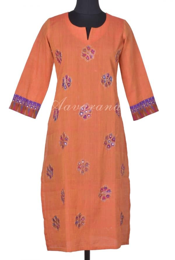 Orange ikat applique kurta-0