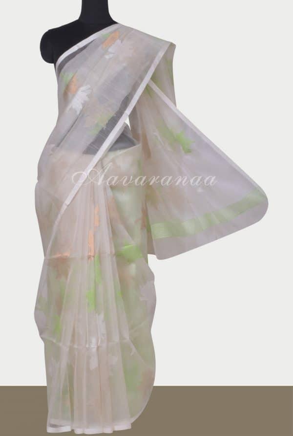 Cream handloom organza saree -0