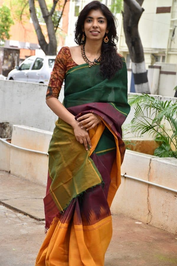 Green cotton with silk border saree-0