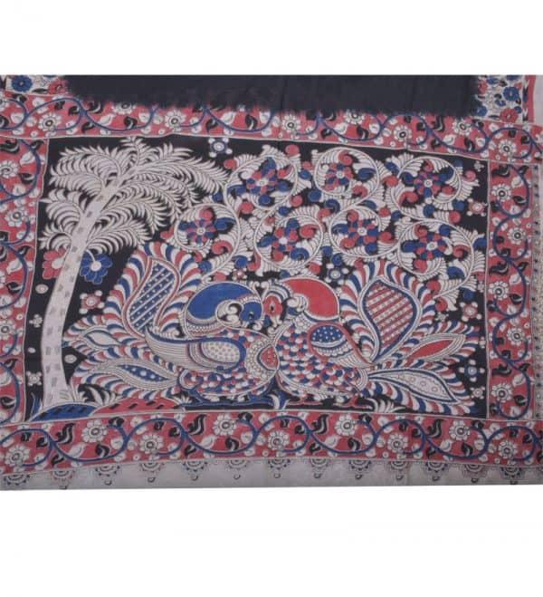 Blackkalamkari printed silk saree-14100