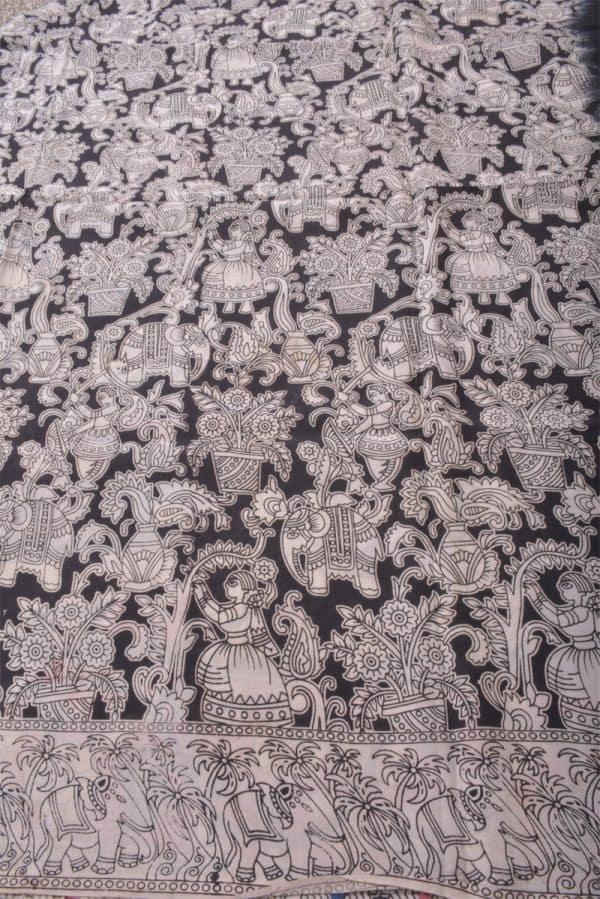 Blackkalamkari printed silk saree-14099