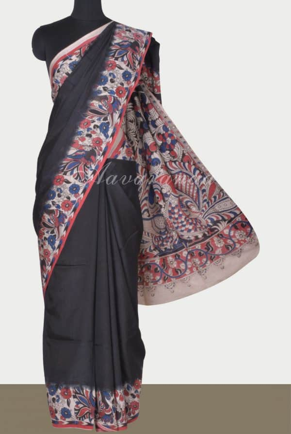 Blackkalamkari printed silk saree-0