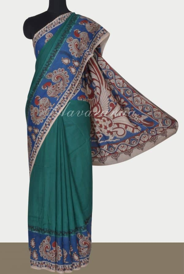 Teal kalamkari printed silk saree-0