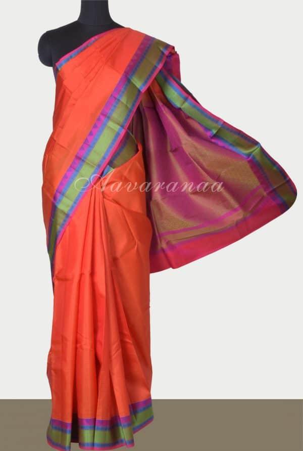 Orange soft silk saree with thread border-0