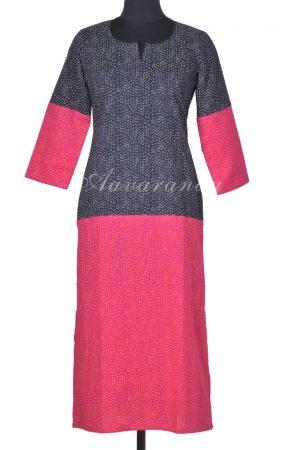 Black pink half half cotton kurta-0