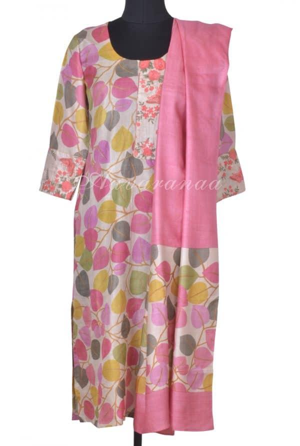 Pink leaf print tussar suit-0