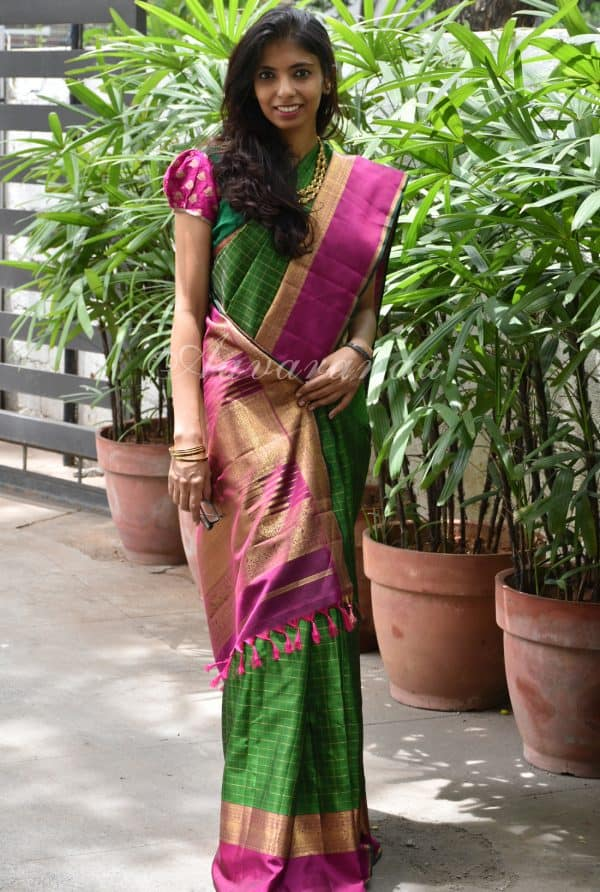 Green kanchipuram silk saree-0