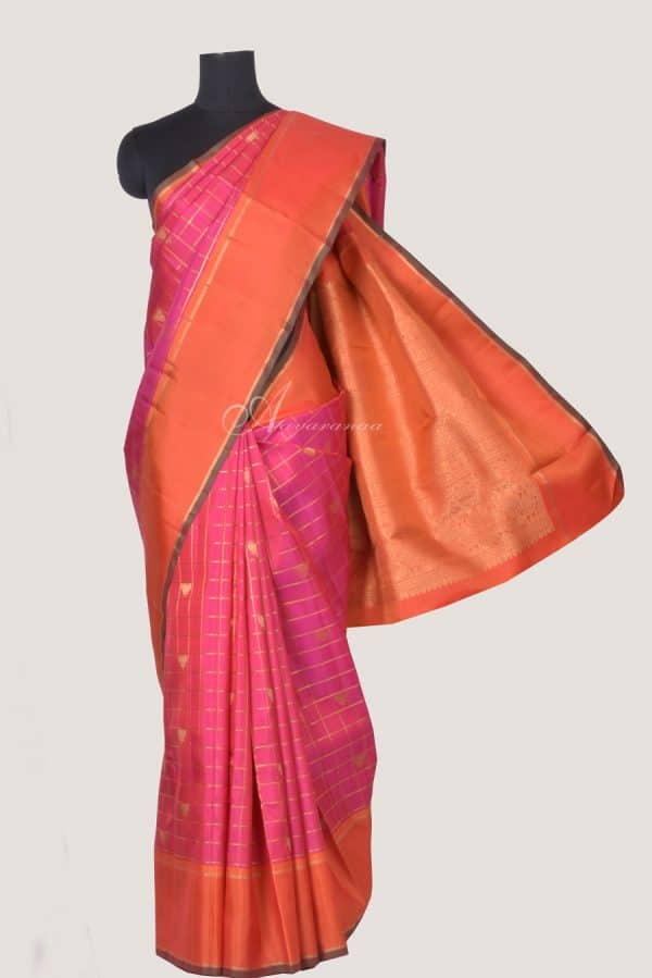 Pink checks kanchi silk saree with lotus motif-0