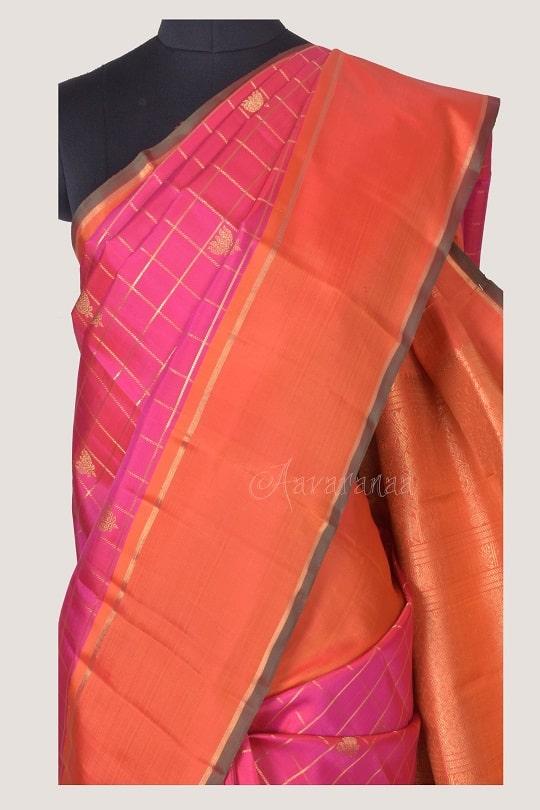 Pink checks kanchi silk saree with lotus motif-14217