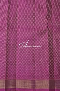 Dark green kanchi silk saree with pink zari border and brocade blouse-14220