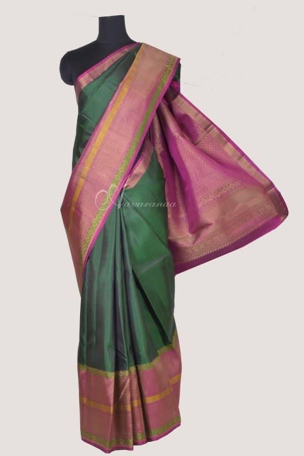 Dark green kanchi silk saree with pink zari border and brocade blouse-0