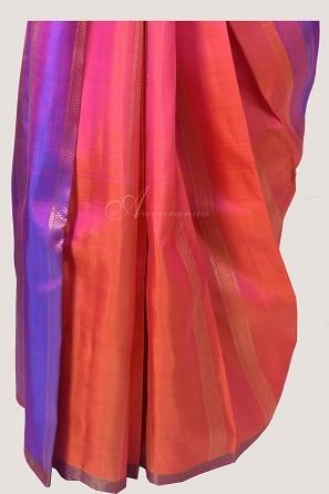 Peach purple partly pallu kanchi silk saree-14233