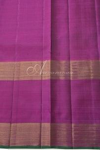 Green checks silk saree with pink border-14222
