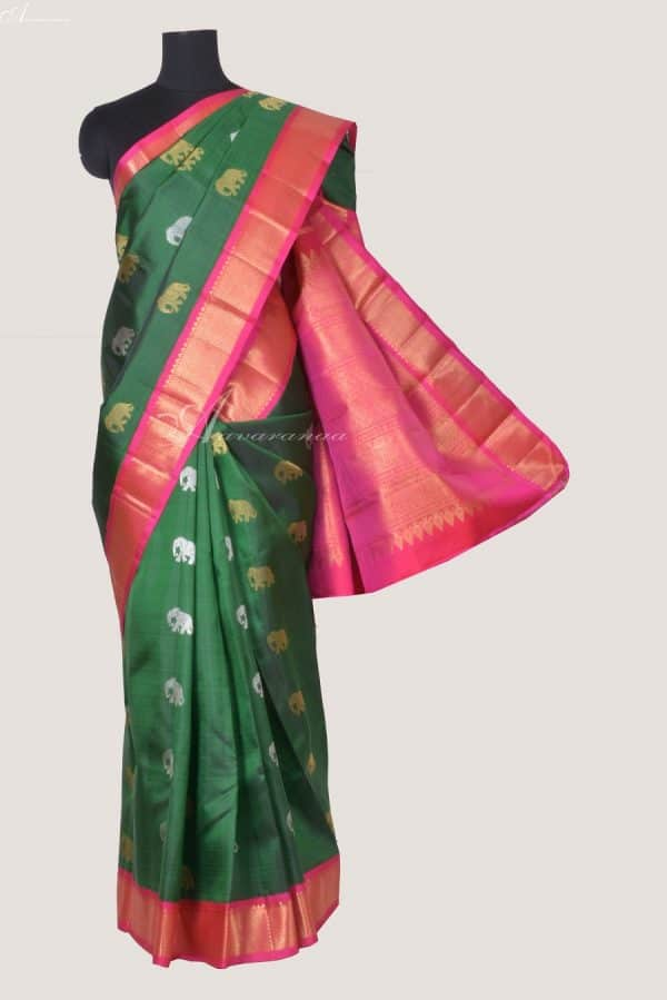 Green kanchi silk saree with elephant butta-0