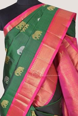 Green kanchi silk saree with elephant butta-14225
