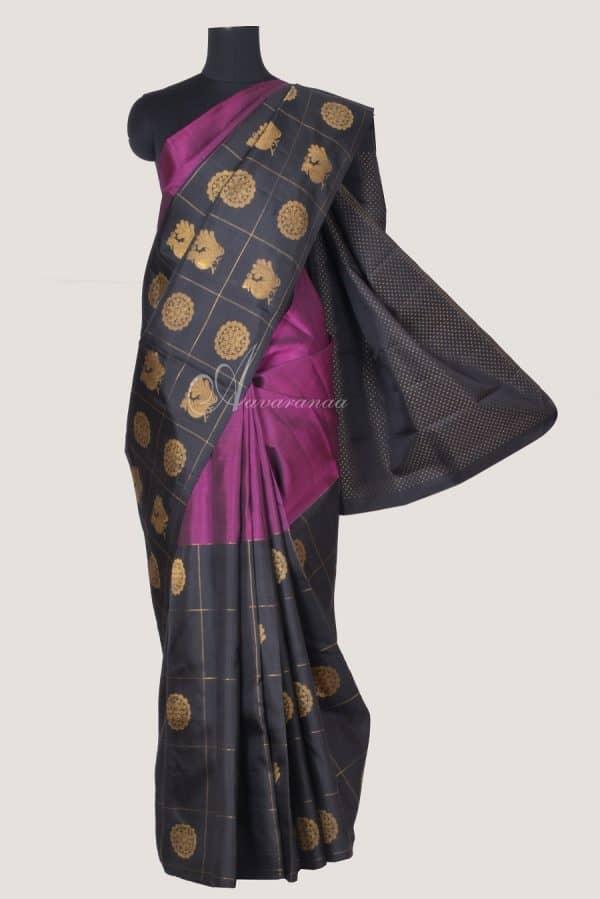 Pink black half and half kanchi silk saree-0