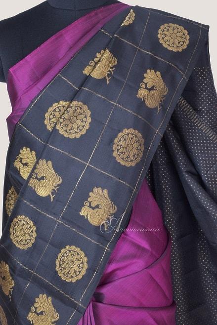 Pink black half and half kanchi silk saree-14230