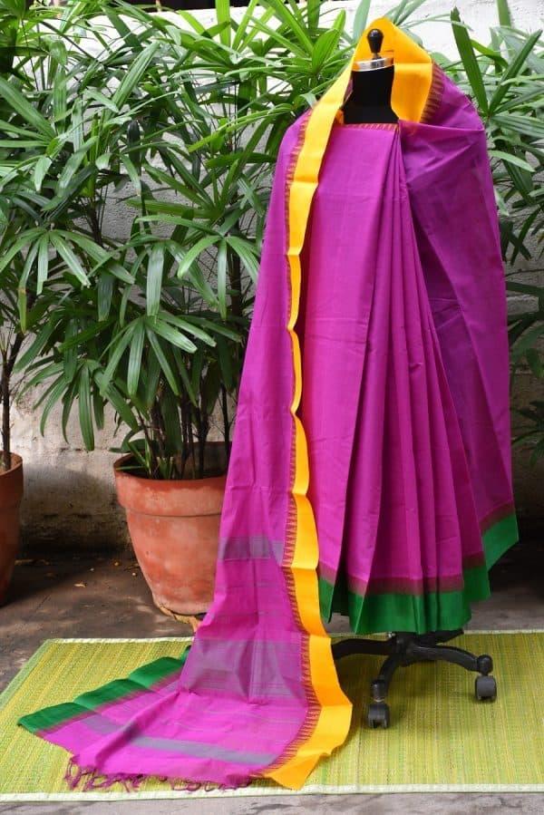 Purple cotton with silk border saree-0